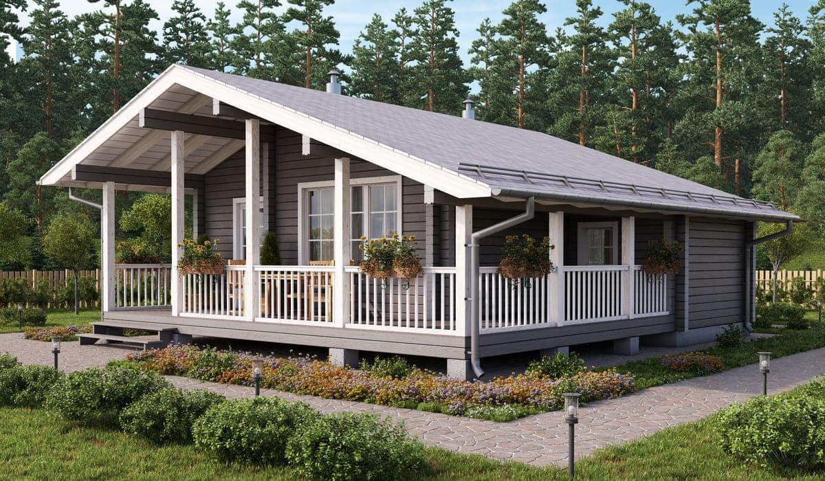 Одноэтажный дом из бруса с террасой фото