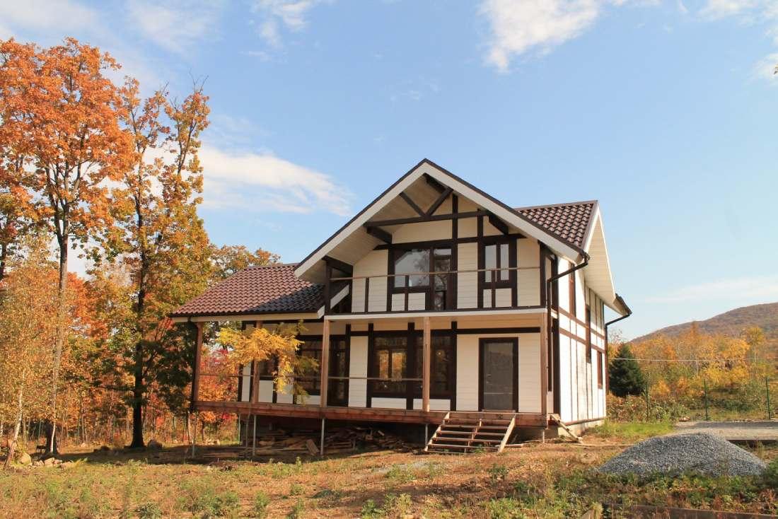 фото каркасного дома с мансардой