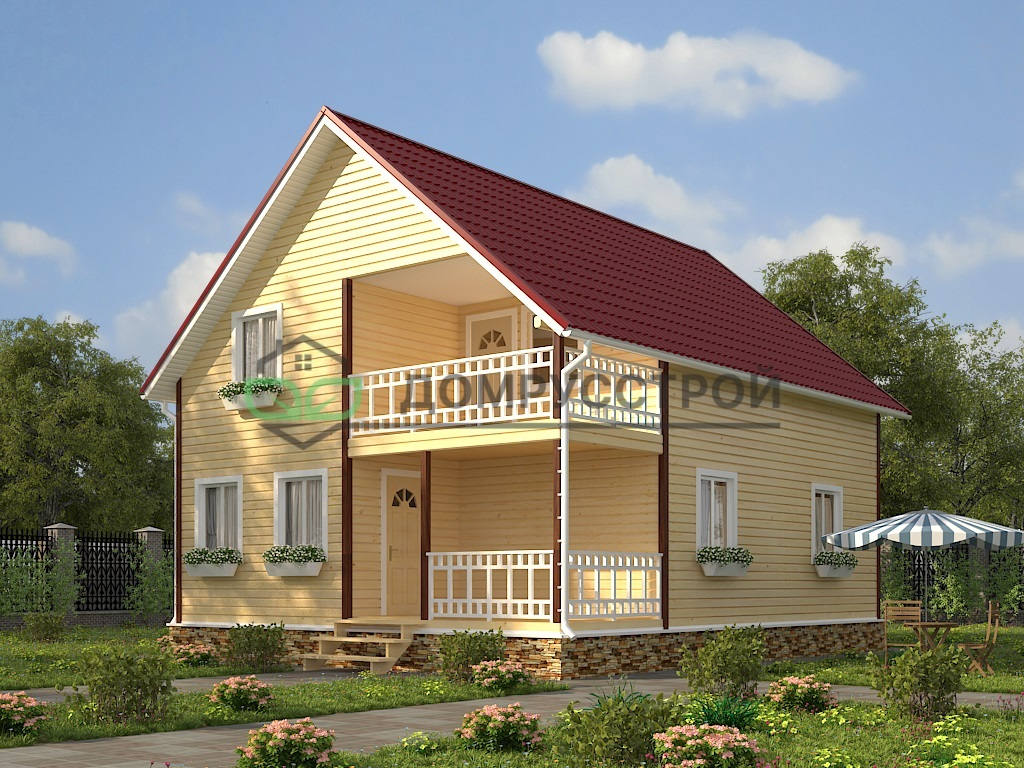 Дом из бруса Д38 8x10